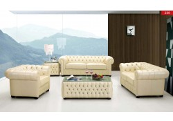 258 Living Room Set Chesterfield Full Ivory Leather