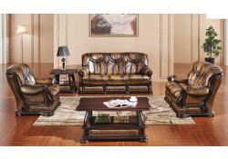 Oakman Sleeper Living Room Set in Brown Full Leather