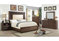 Eutropia Bedroom Set in Warm Chestnut and Beige