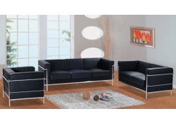 F02 Black Full Leather Contemporary Living Room Set