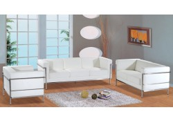 F02 White Full Leather Contemporary Living Room Set