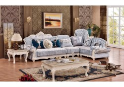 Fabia 694 Sectional Sofa Traditional Pearl Wood Trim