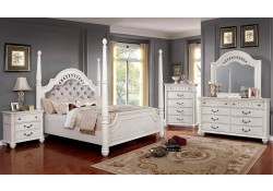 Fantasia Bedroom Set in Antique White with High Posts