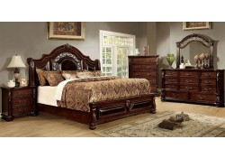 Flandreau Traditional Bedroom Set in Brown Cherry