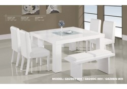 G020DT-WH Modern White Wood Square Table 7 Piece Dining Set