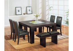 G020DT/G020DC Modern Brown Wood Square Table 7 Piece Dining Set
