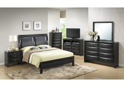 Black Wood Bedroom Set G1500A with Leather Headboard Bed