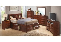 Cherry Finish Storage Bedroom Set G1550G Glory Furniture