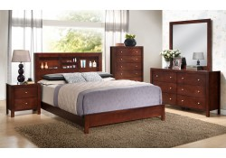 Brown Finish Bedroom Set G2400B with Bookcase Headboard