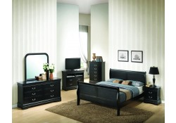Black Finish Solid Wood Bedroom Set G3150A Glory Furniture