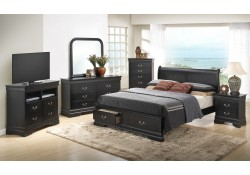 Black Finish Wood Traditional Black Bedroom Set G3150D