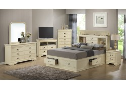 Beige Wood Bedroom Set G3175B with Bookcase Storage Bed