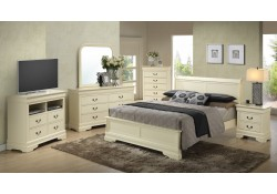 Low Profile Bed Beige Solid Wood Bedroom Set G3175E