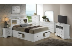 Bookcase Storage Bed White Finish Bedroom Set G3190B