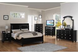 Black Finish Wood Bedroom Set G5925B with Leather Headboard