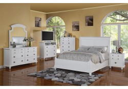 Transitional White Bedroom Set G5975B with Sleigh Bed