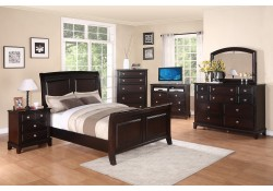 Cappuccino Solid Wood Sleigh Bedroom Set G9800A