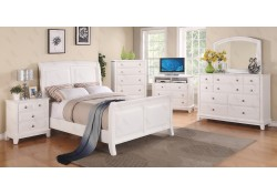 Transitional White Bedroom Set G9875A with Sleigh Bed