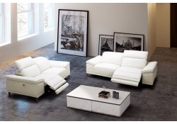 Gaia Reclining Living Room Set in White Italian Leather