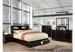 Gerico II Bedroom Set in Espresso with Storage Bed