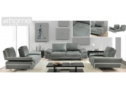 Gia Living Room Set in Grey Leather and Sliding Backs