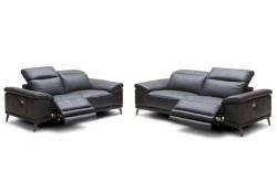 Giovani Power Reclining Living Room Set in Black Leather