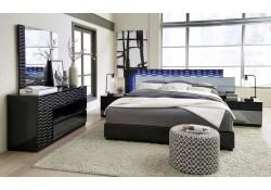 Global Manhattan Black Bedroom Set with LED Lights