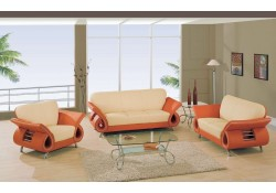 U559 Living Room Set in Orange and Beige Leather
