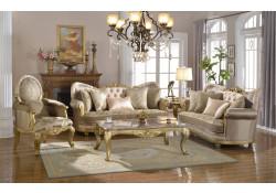 Gold Finish Wood Trim Fabric Living Room Set 658