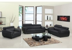 4571 Modern Living Room Set in Black Leather by United