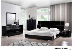 Hailey Black High Gloss Modern Wood Bedroom Set