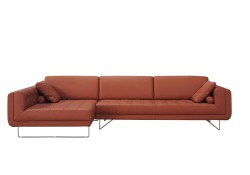 Hampton Modern Sectional Sofa in Orange Leather