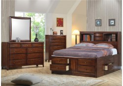 Hillary and Scottsdale Bedroom Set in Walnut Finish Wood