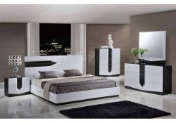 Hudson Bedroom Set in Two Tone Finish by Global Furniture
