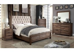 Hutchinson Bedroom Set in Rustic Natural Tone And Beige