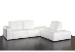 Ibiza Build Your Own Modular Italian White Leather Sectional by Nicoletti