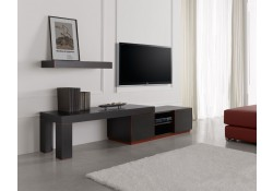 Inessa Configurable Red Black Modern TV Stand Optional Wall Unit