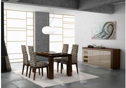 Irene Modern Dining Room Set in Brown Finish Made in Spain