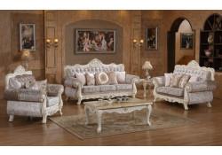 Glossy Ivory Wood Trim Fabric Living Room Set 638