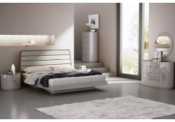 Oslo Modern Bedroom Set in Light Grey and Walnut Finish