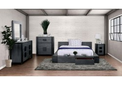 Janeiro Modern Bedroom Set in Rustic Gray with Storage