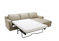 Jenny Sofa Bed Sectional in Beige Italian Leather