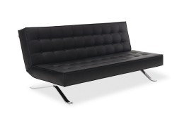 Black Leather Contemporary Sofa Bed Comfortable Sleep JK044