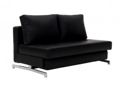Black Leather Contemporary Comfortable Sofa Bed K43