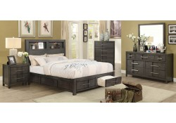 Karla Bedroom Set in Gray with Storage Bed