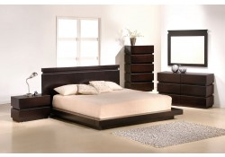 Knotch Contemporary Bedroom Set with King or Queen Size Platform Bed