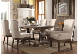 Landon Salvage Brown Dining Room Set Cream Chairs