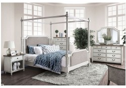 Lansford Bedroom Set in Antique White with Canopy Bed
