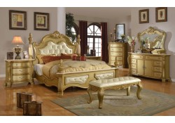 Lavish Gold Finish Bedroom Set with Marble Tops