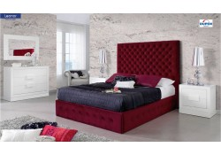 Leonar Bedroom Set with Red Fabric Storage Bed